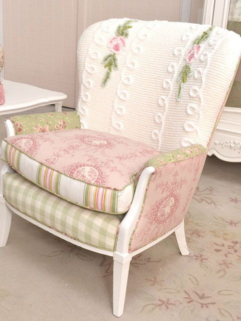Antique Chair Upholstery Ideas Oohh...love The Differing Fabrics