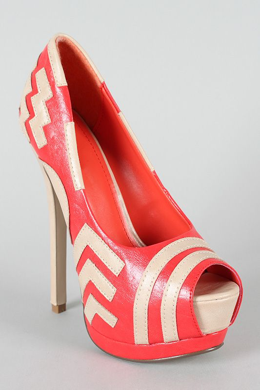 Coral and Beige Chevron Two Toned Peep Toe High Heel-