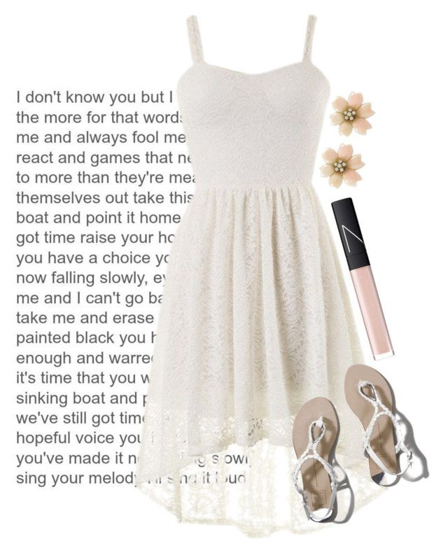 """""""Falling Slowly"""" by emspinsflags ❤ liked on Polyvore featuring Abercrombie & Fitch, NARS Cosmetics, white, whitedress and FallingSlowly"""