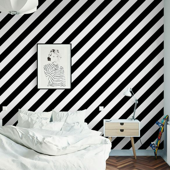 33 X 20 5 Nordic Wallpaper Roll For Accent Wall With Diagonal Stripe In Black And White Black White In 2021 Accent Wall Wallpaper Roll Black And White Wallpaper