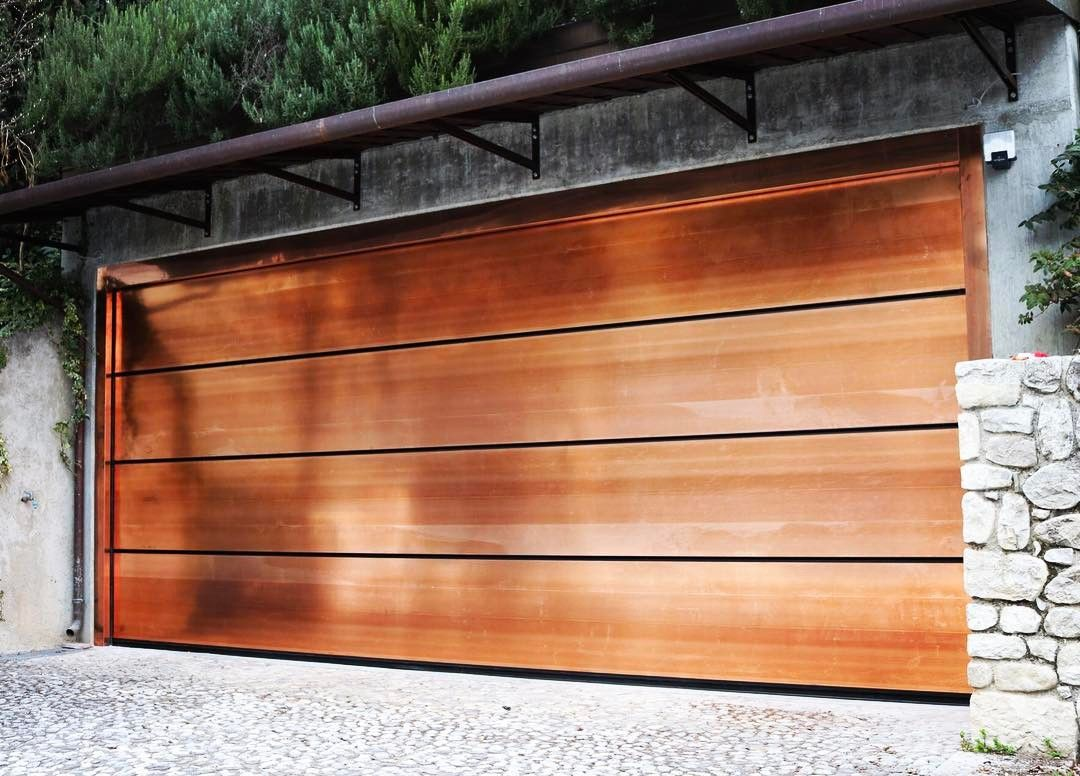 Leperle Metal Jewels In Copper Rame Garage Doors By Breda All The Best Of Made In Italy Portoni Da Garage Breda Si Garage Doors Garage Outdoor Decor