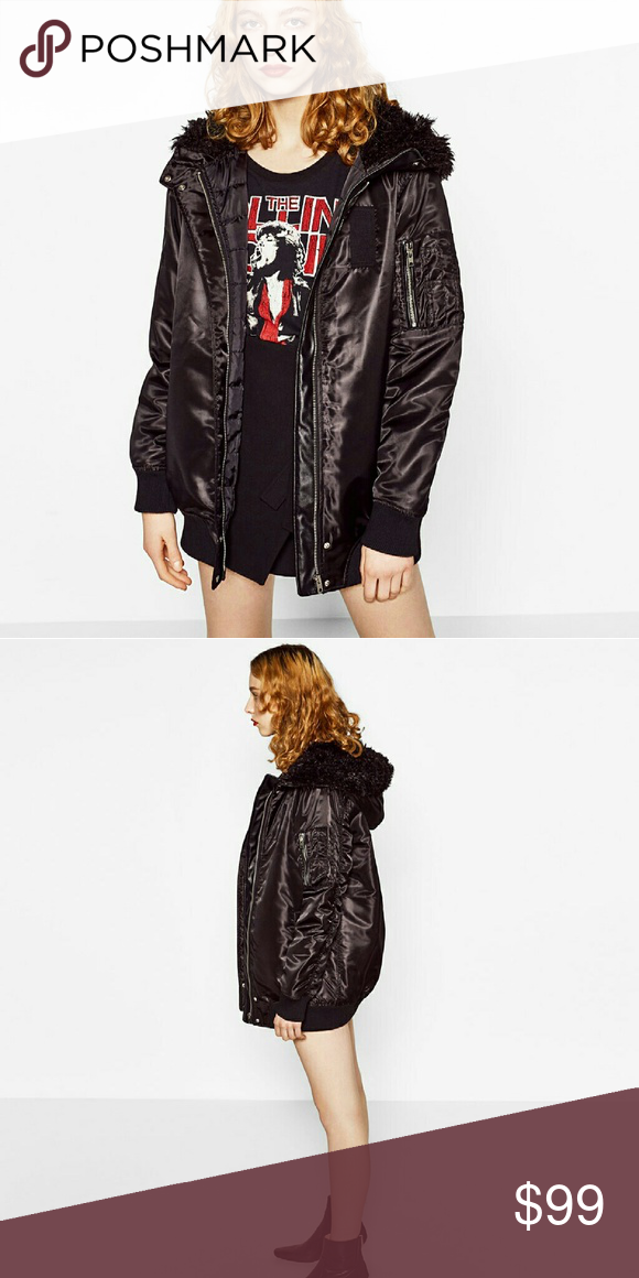 Zara Long Hooded Bomber Jacket Black Zara Long Hooded