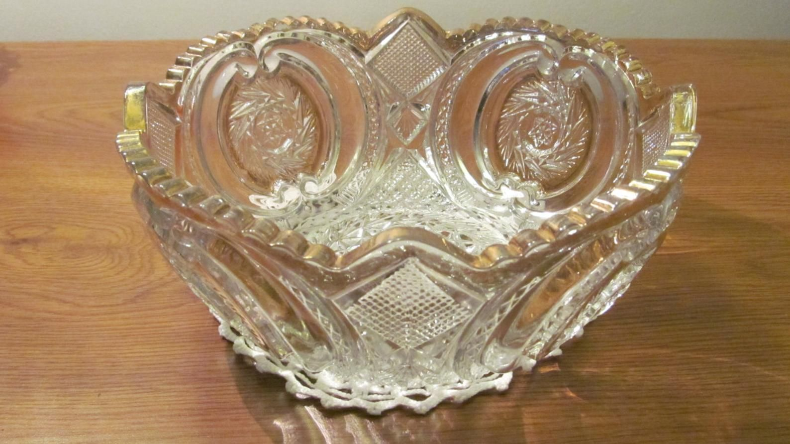 Mikasa Crystal serving plate dish   round divided relish 13 inch  footed  with grape design Germany vintage 1970s