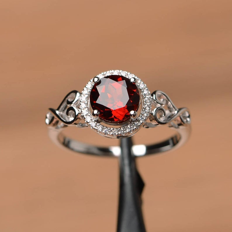 Propose Ring Wedding Jewelry For Women January Birthstone Ring 925 Silver Sterling Ring Engagement Ring Wedding Band Garnet Band