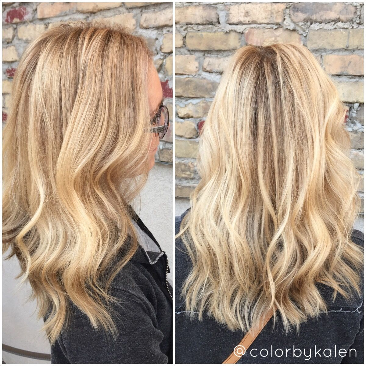 Blonde balayage , hair paint root touch up , butter blonde