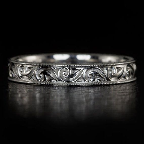 Engraved Art Deco Inspired Wedding Band Stackable Cocktail Ring