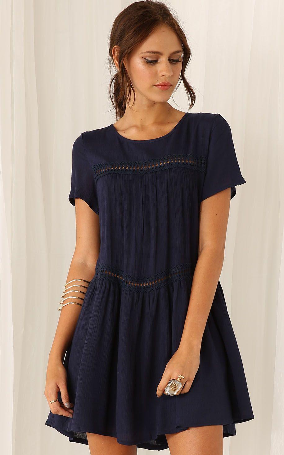 Shop Navy Short Sleeve Shift Dress online. Sheinside offers Navy ...