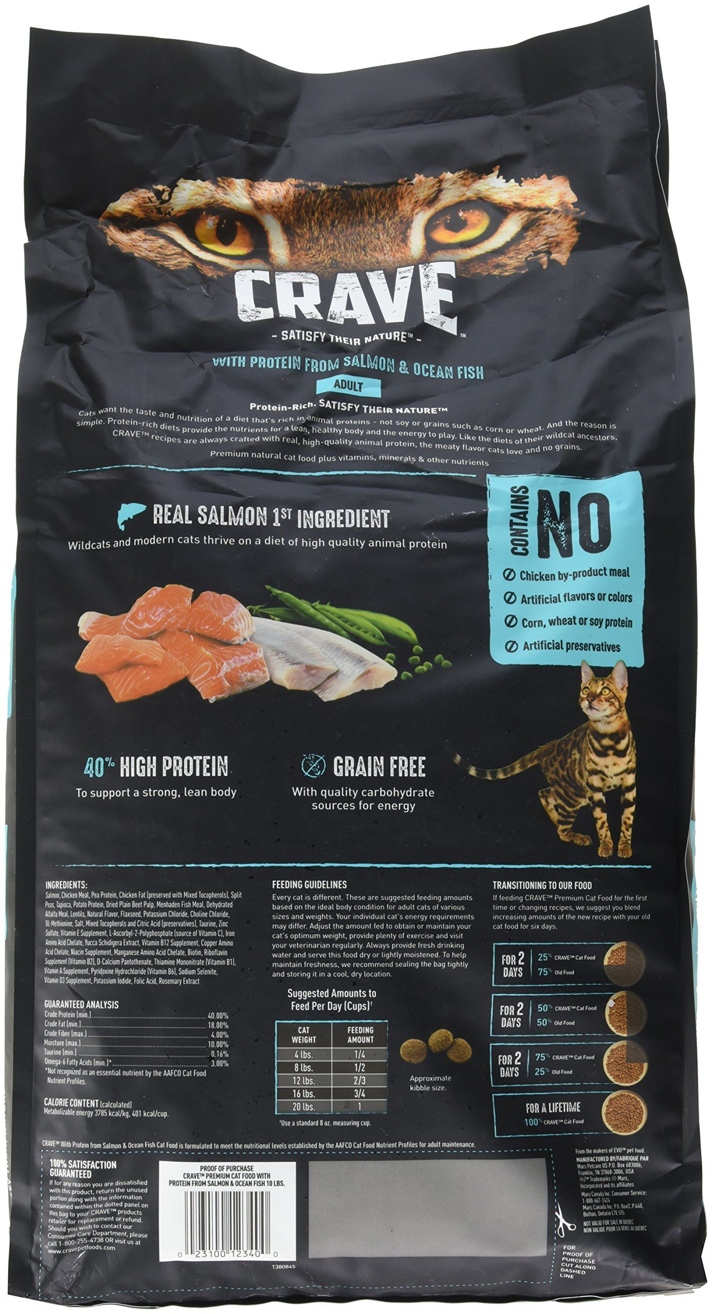 Crave Grain Free Dry Cat Food With Protein From Salmon And Ocean Fish Bag With Bonus Magnetic Feeding Guidelines 2 Lb Pack Dry Cat Food Best Cat Food Cat Food