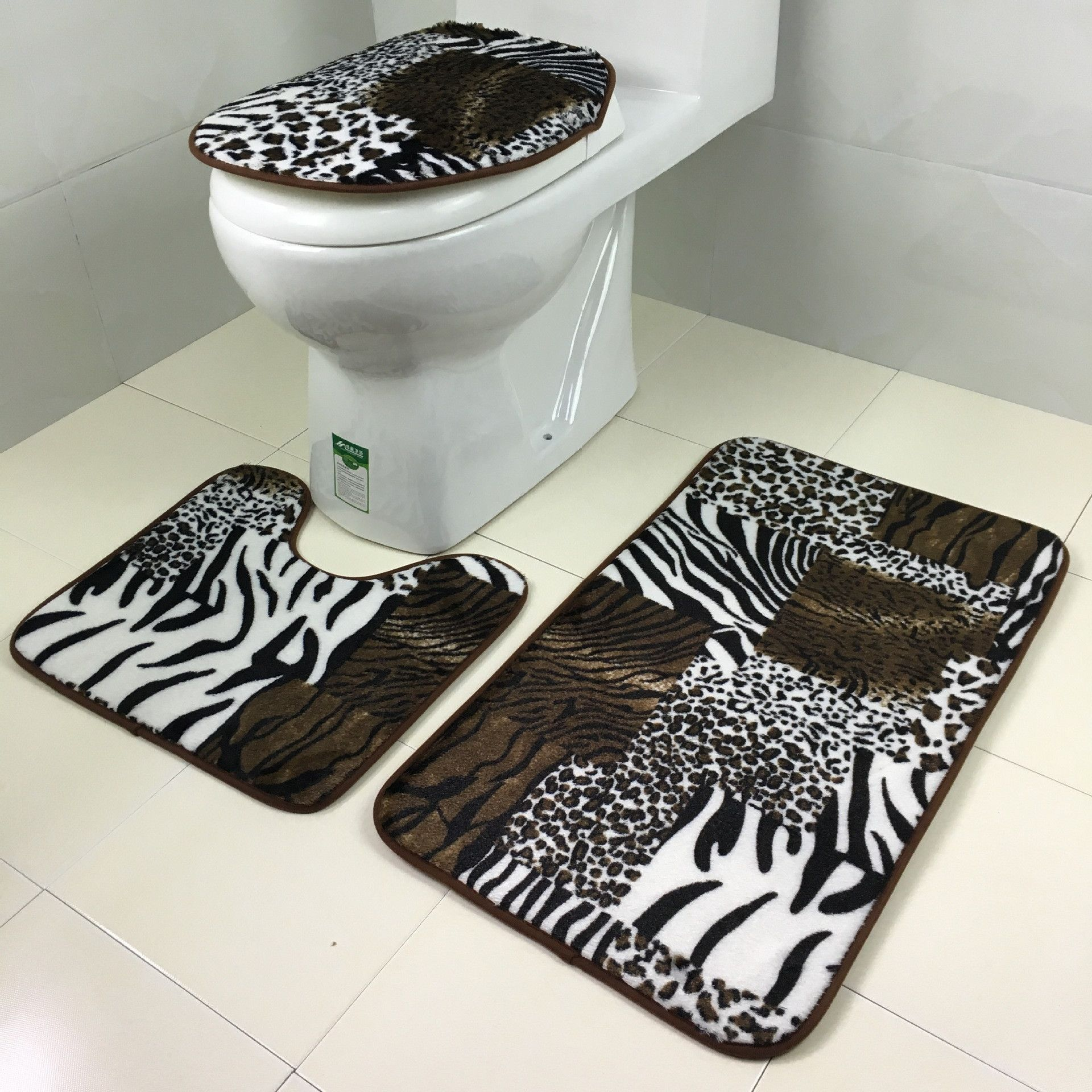 Zebra And Leopard Print Bathroom 3 Piece Polyester Mat Set