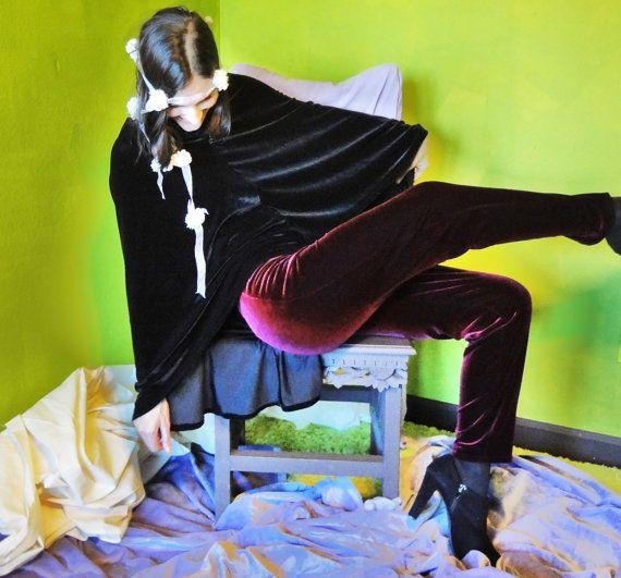 Burgundy / Red Stretch Velvet Pants by gogogina on Etsy, $110.00