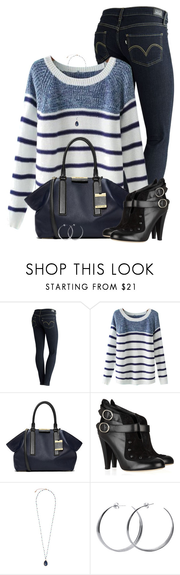 """Striped Sweater"" by daiscat ❤ liked on Polyvore featuring Levi's, Chicnova Fashion, Michael Kors, Philosophy di Alberta Ferretti, Monsoon and Coco's Liberty"