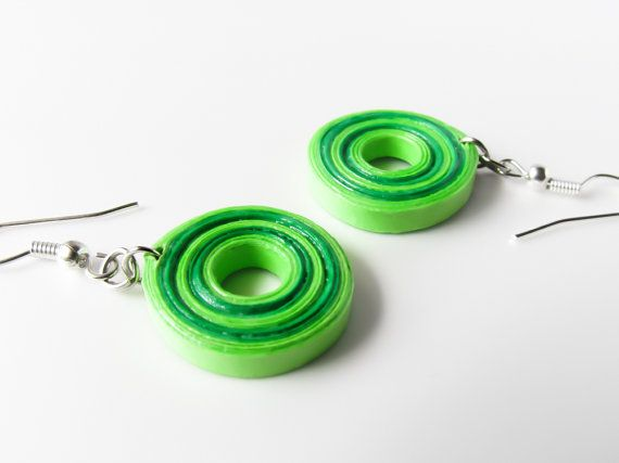 Light and dark green candy earrings by Paperica on Etsy