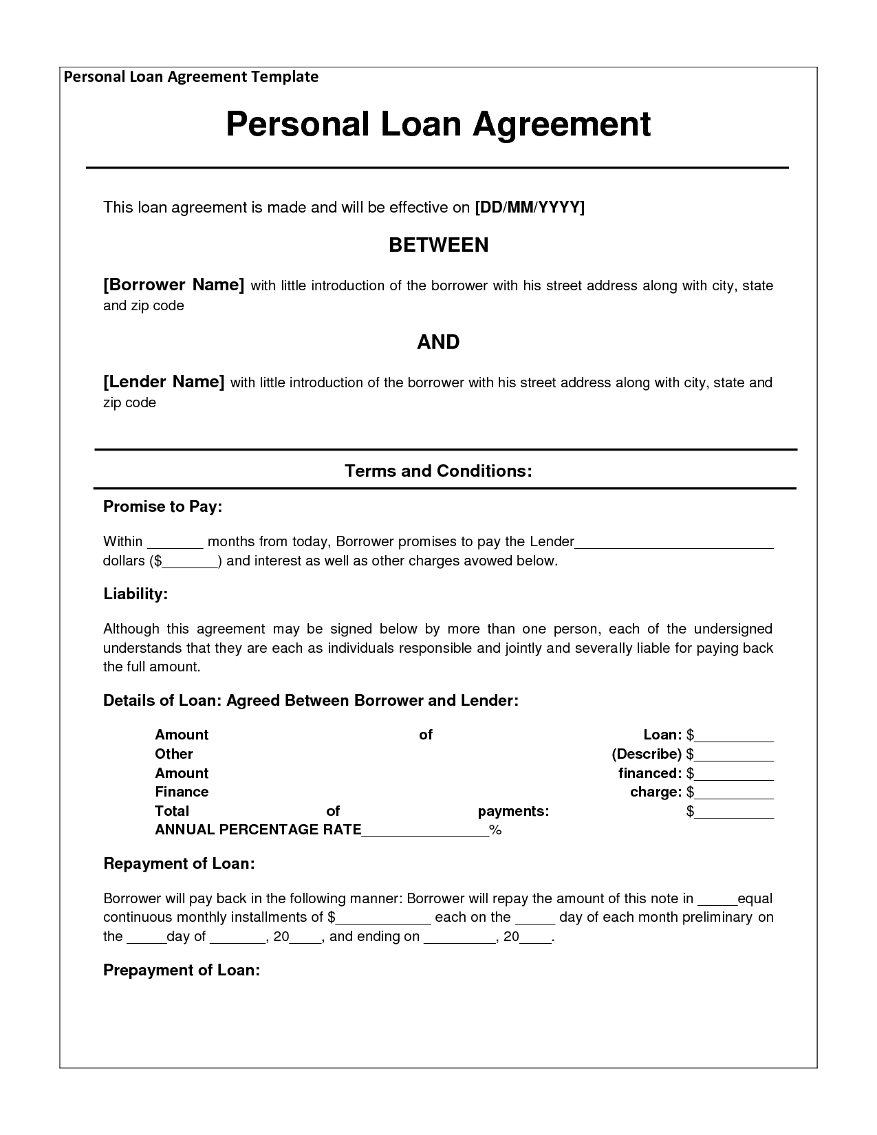 Personal Loan Agreement – Private Loan Agreement Template