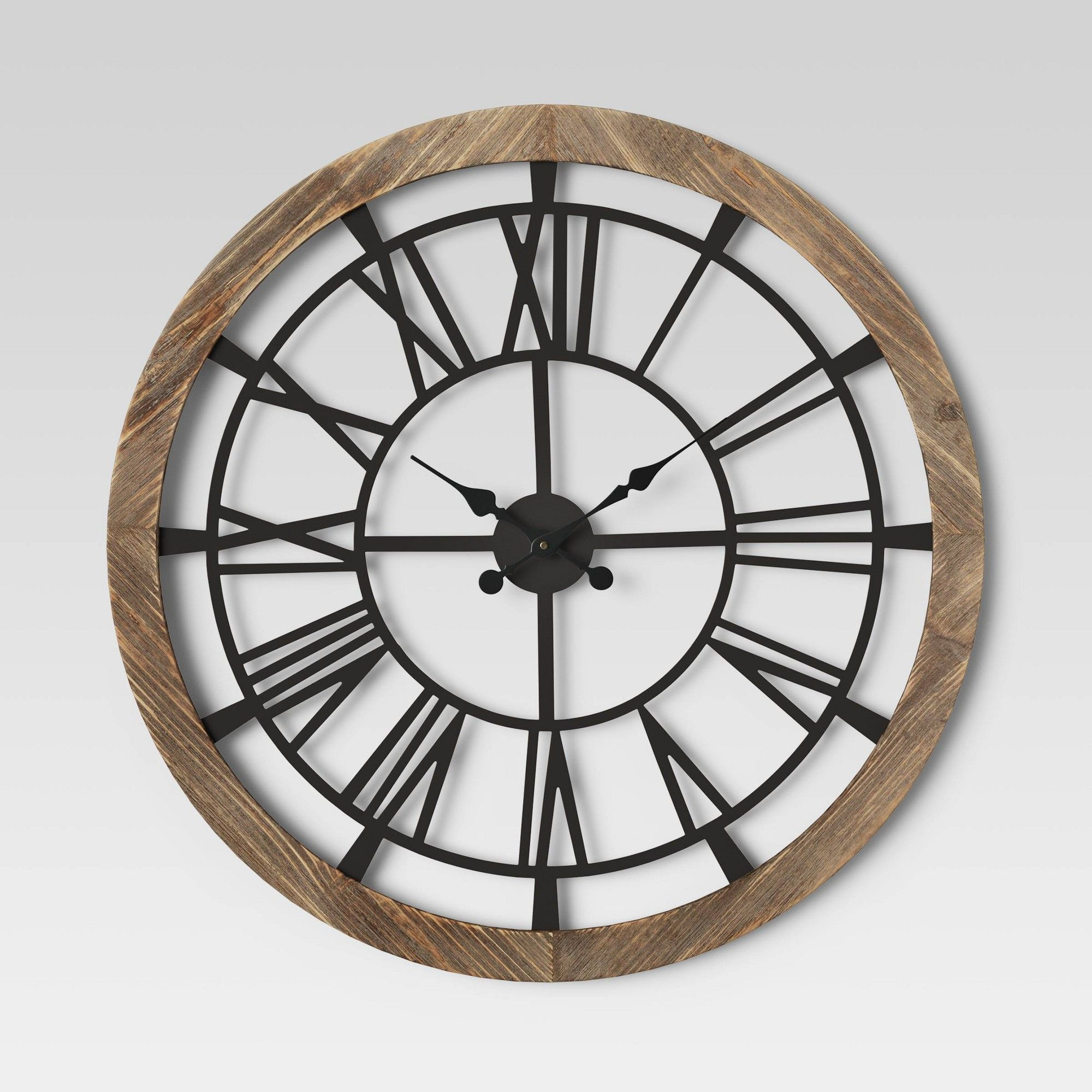 32 Wood And Metal Wall Clock Brown Threshold Black Brown Large Black Wall Clock Large Metal Wall Clock Metal Wall Clock