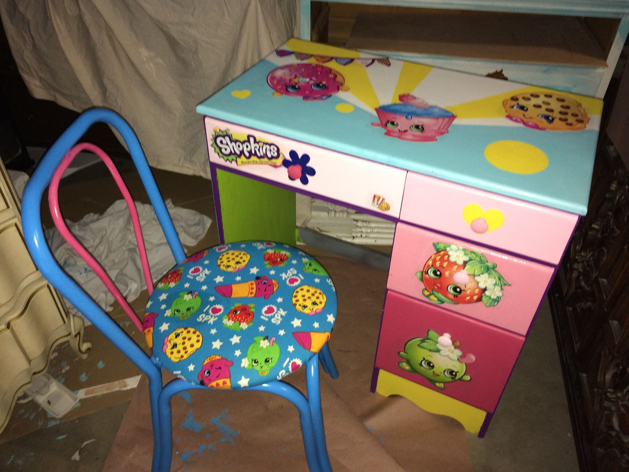 kids hanging chair for bedroom%0A SHOPKINS custom painted diy DESK  u     CHAIR