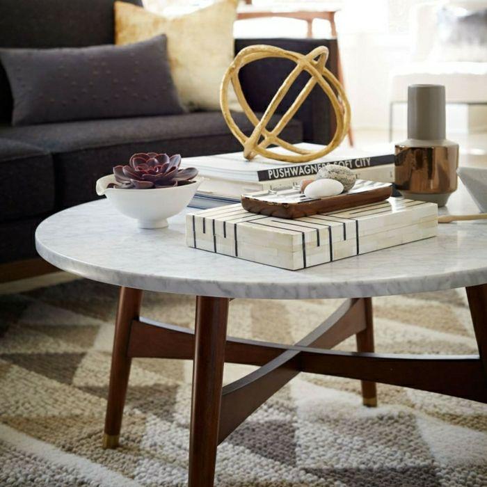 Ovaler Couchtisch Marmor Und Holz