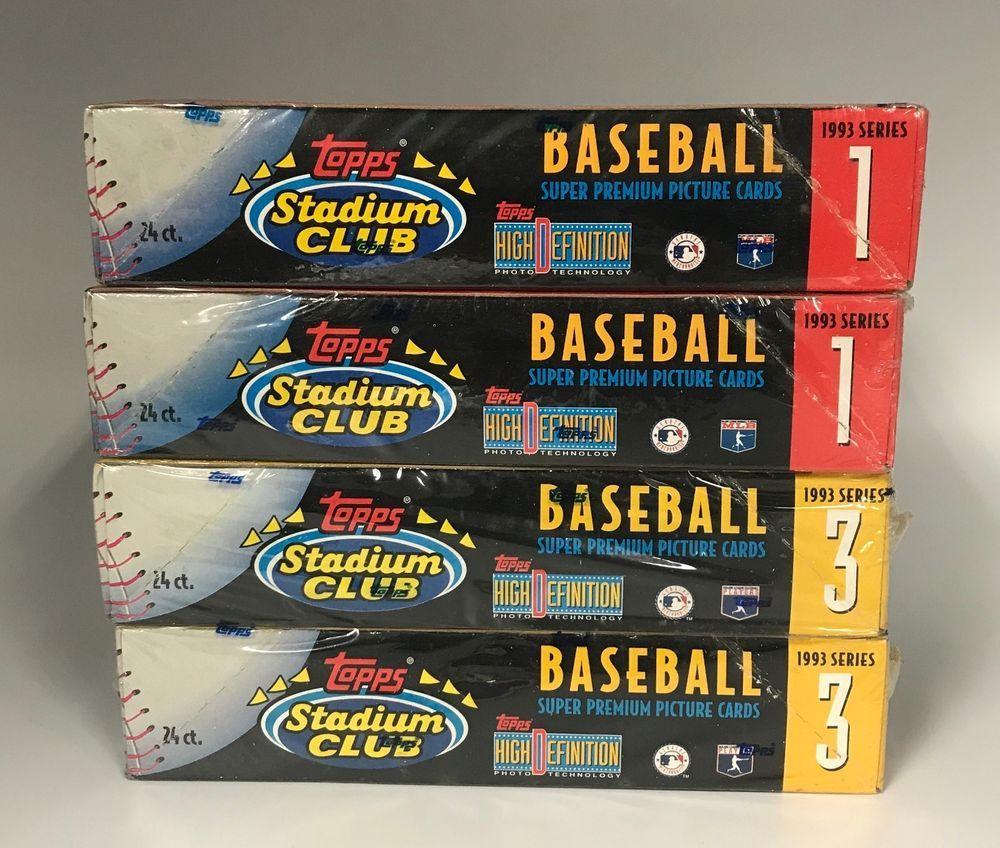 Lot of 4 1993 topps stadium club baseball series 1 3