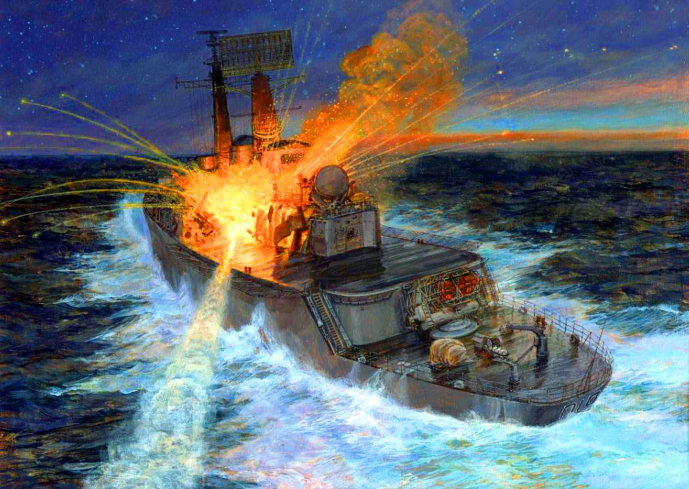 HMS being struck by an Exocet fired during the