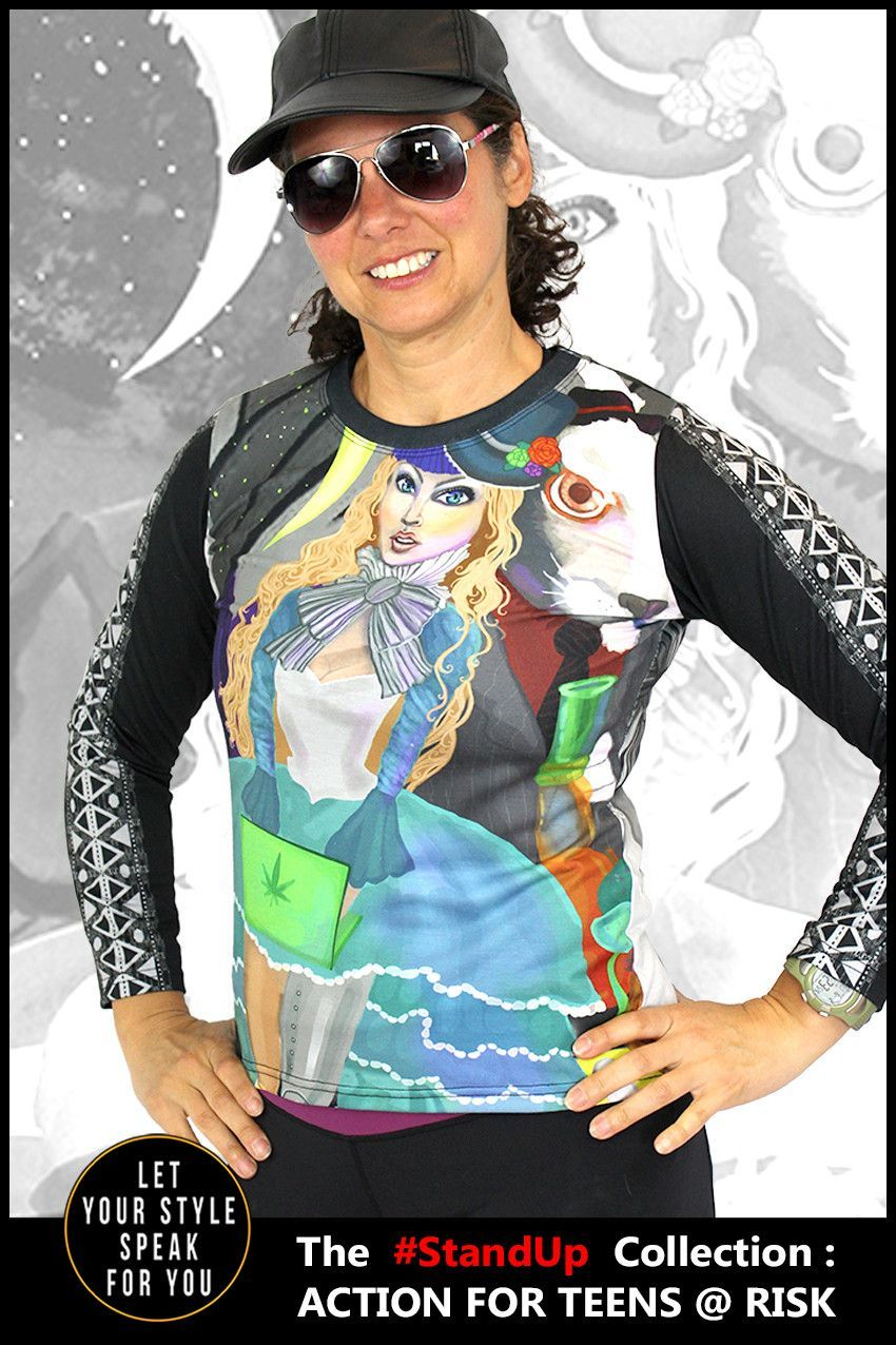 Original design long sleeve shirt with edgy Alice in Wonderland theme. Promotes self empowerment and mental enlightenment with a cool one-of-a-kind design.