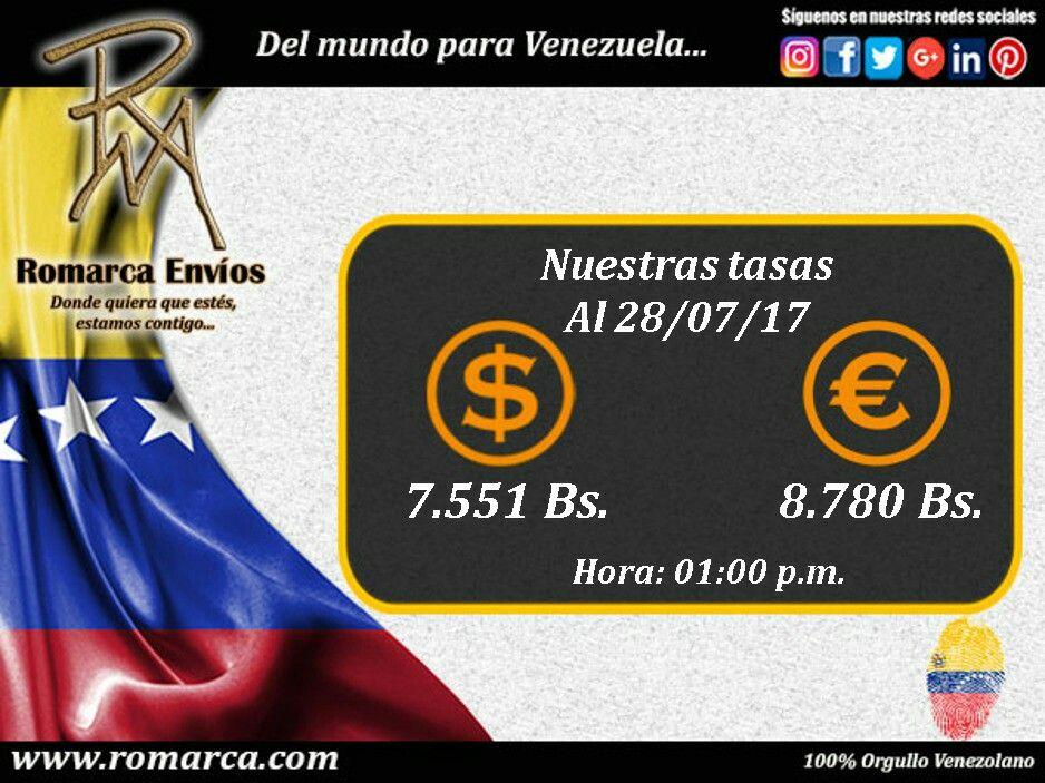 #RomarcaEnvios con más de 5300 transacciones te ofrece las mejores #TasasDeCambio del mercado alternativo. Desde cualquier parte del mundo a #Venezuela << www.romarca.com >> 100% operativo para que realices tus transacciones. #Venezolanos #USA #emigrantes #dolares #euros #bolivares #remesas 💲💰💳💸