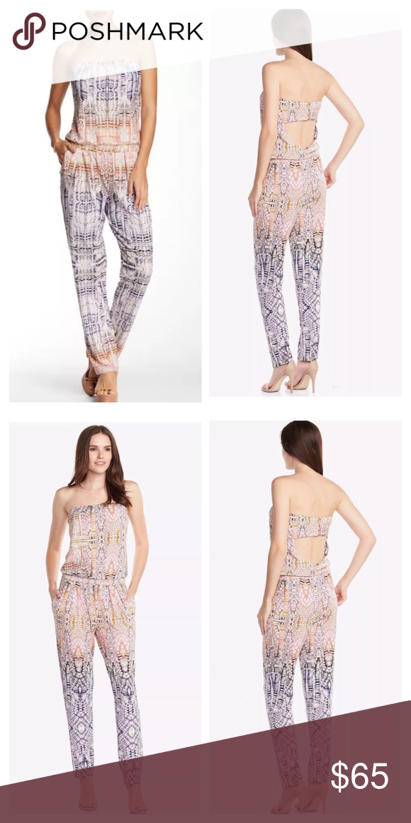 New Tart Collections Brea Jumper in Sunset Lattice Tart Collections Brea Jumper - Size Medium - Brand New w/ Tags. Supersoft modal jumper with just the right amount of stretch. Strapless elasticized neckline. Blouson silhouette. Four button-and-loop closures at back above cutout. Hand pockets. 95% modal, 5% spandex. Tart Pants Jumpsuits & Rompers