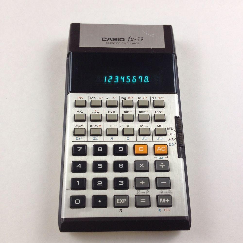 Rare Casio Fx Scientific Calculator Green Vfd Display S