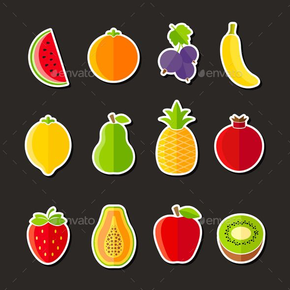 organic fresh fruits and berries icons flat design on black