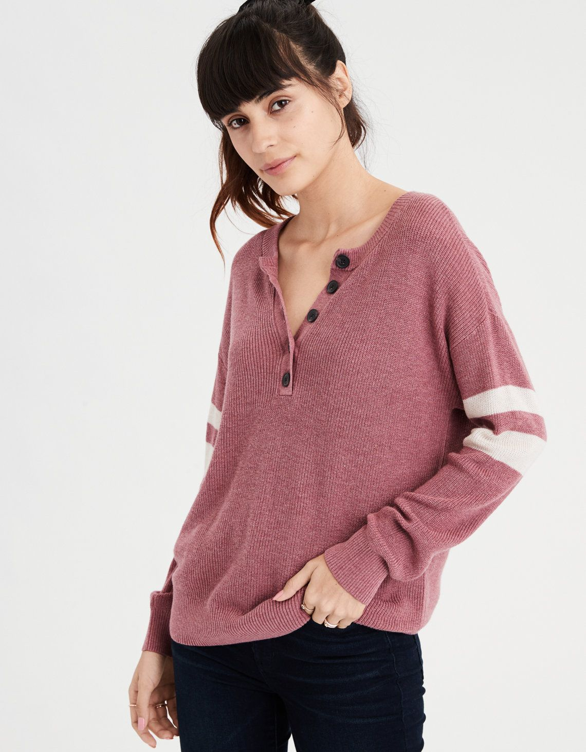 1be249a74d0 AE Varsity Stripe Henley Pullover Sweater