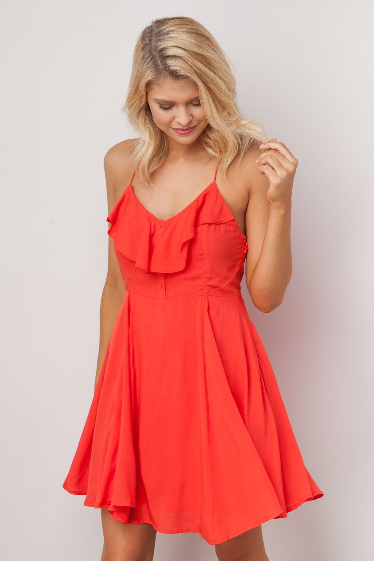 Save the last dance dress in tomato red overlay dancing and neckline
