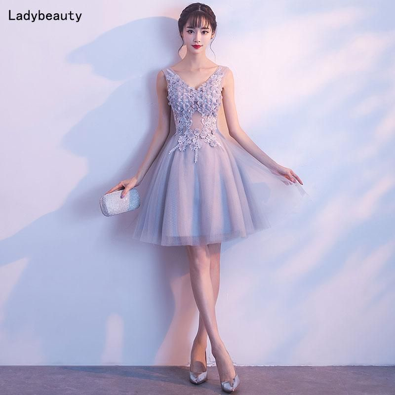 Short Plus Size Dress Embroidery Lace Up Special Occasion Party