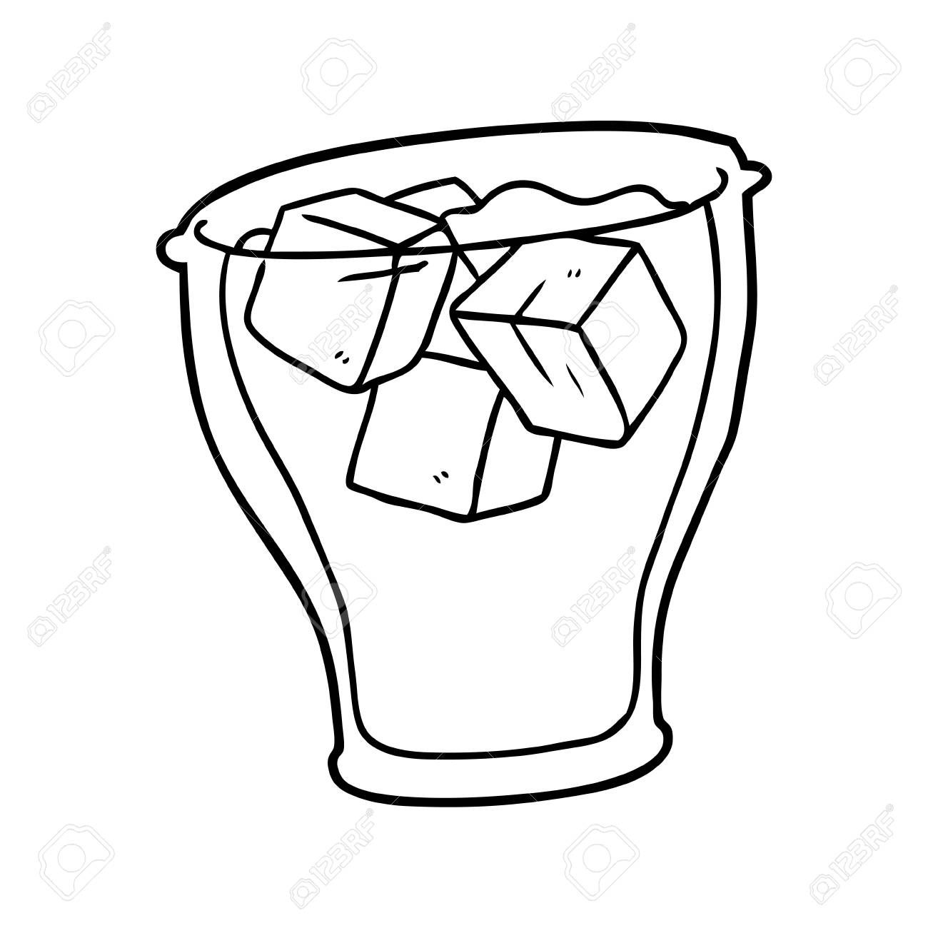 line drawing of a glass of cola with ice ,