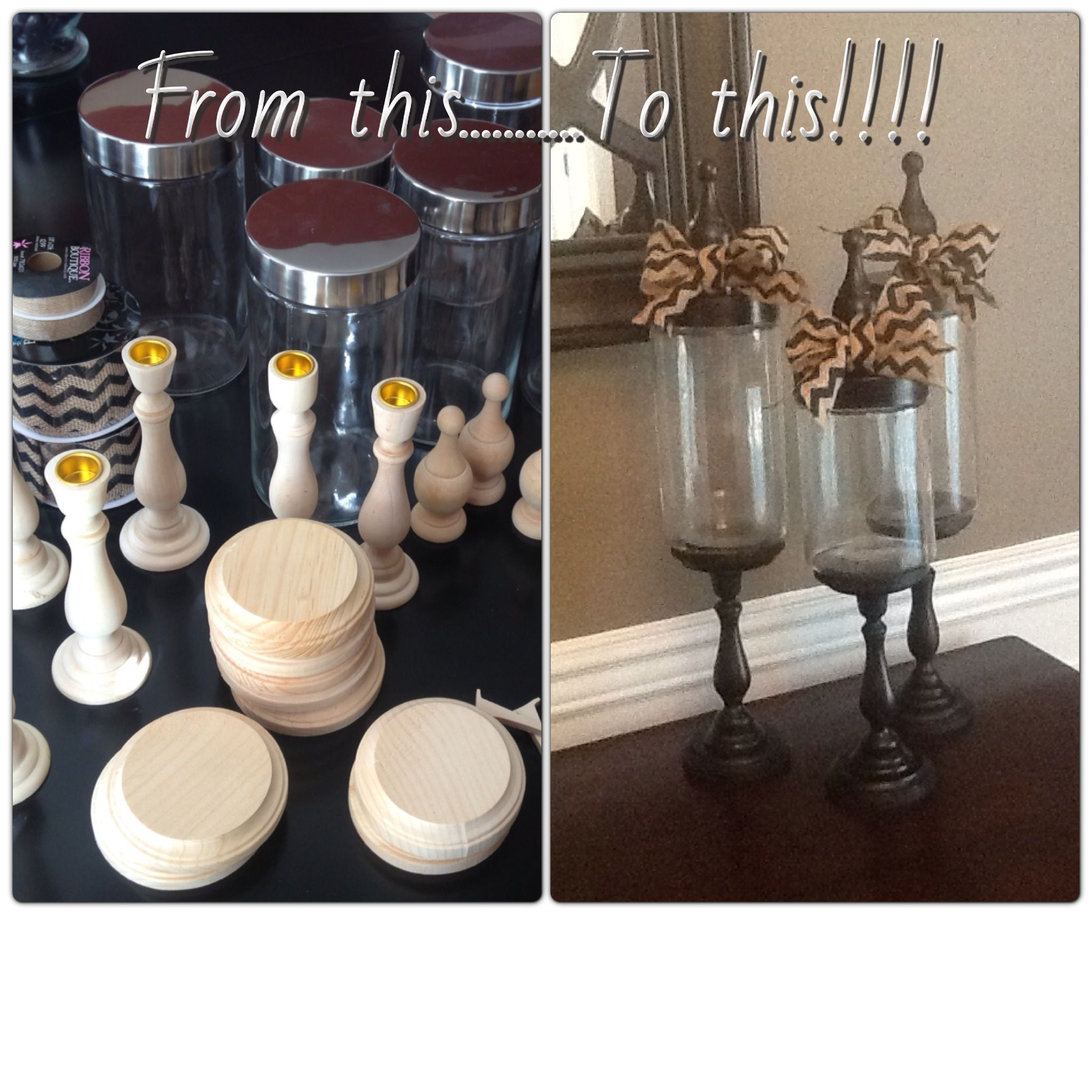 Hobby Lobby Wooden Hearts - All supplies from hobby lobby 3 unfinished wood candle sticks 6