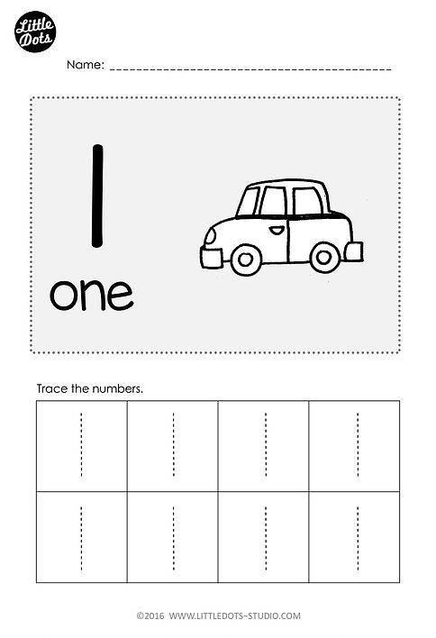 Free Number 1 Worksheet for prek level Practice to trace