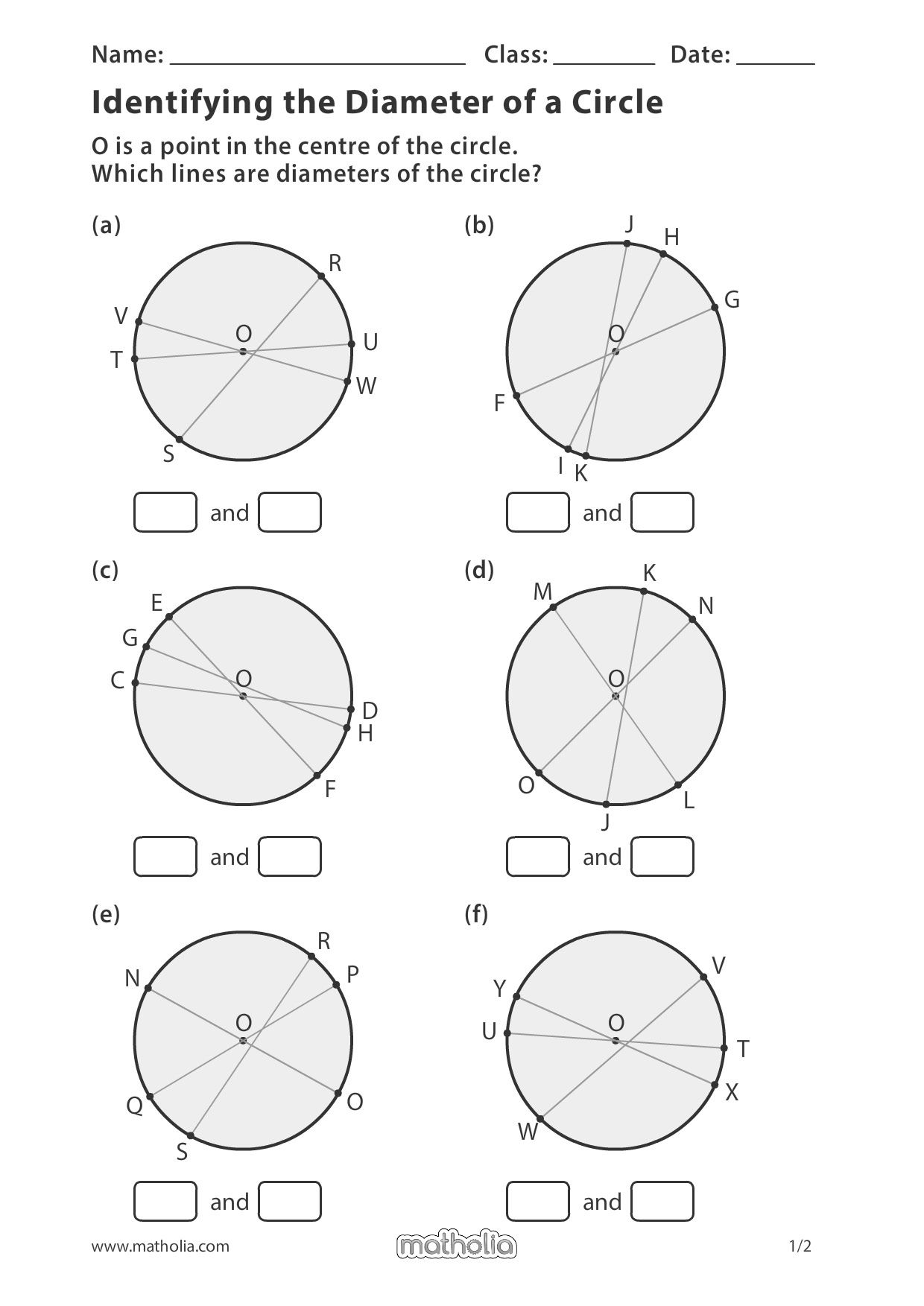 Identifying The Diameter Of A Circle In