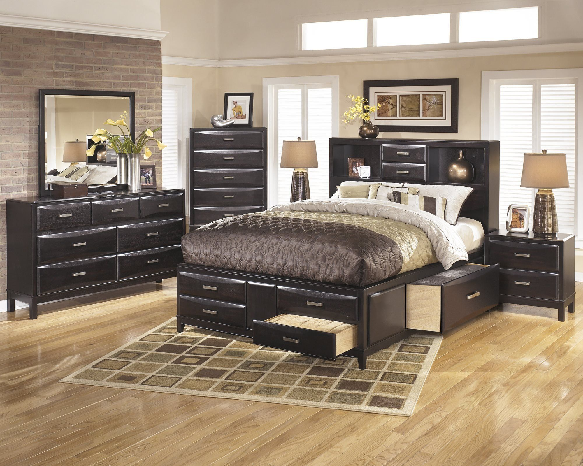 Ashley Kira 5pc Bedroom Set E King Storage Bed Dresser Mirror Two Nightstand In Almost Black Ashley Furniture Bedroom Bedroom Furniture Sets Ashley Furniture