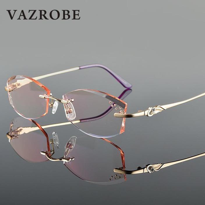 Photo of Vazrobe Rimless Glasses Frame Women Rhinestone Elegant Ladies Eyeglasses Frames for Prescription Diopter MyopiaBrown