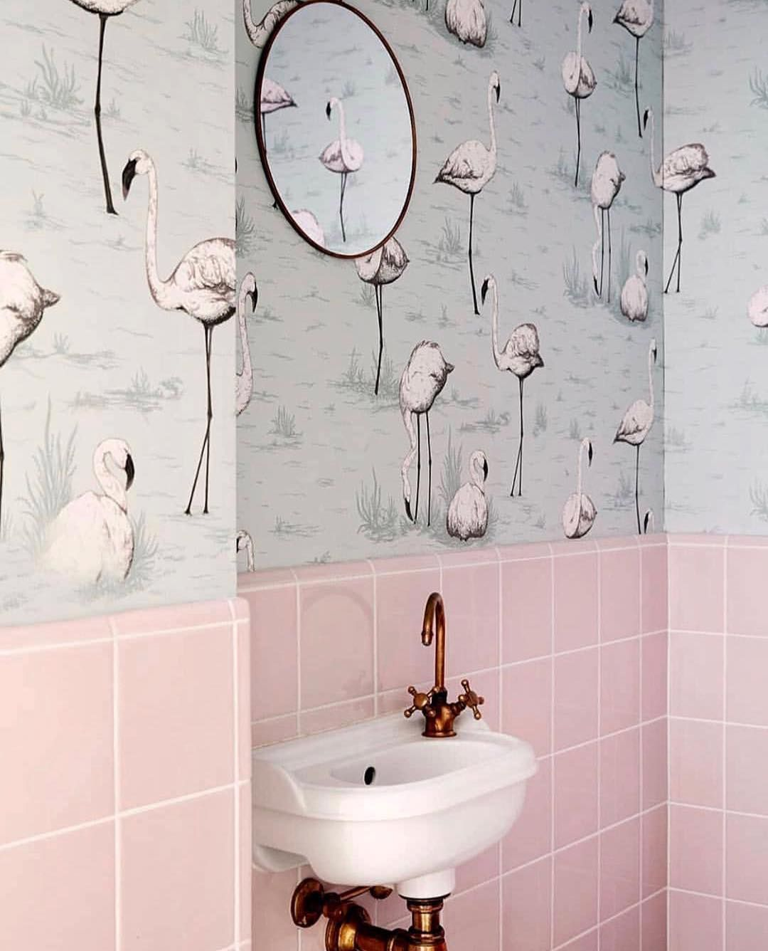 A Cole Son Classic Flamingos 95 8047 S Elegant Birds And Understated Powder Blue Ground Add A Whimsical Touch To A Powder Room Like Badrum