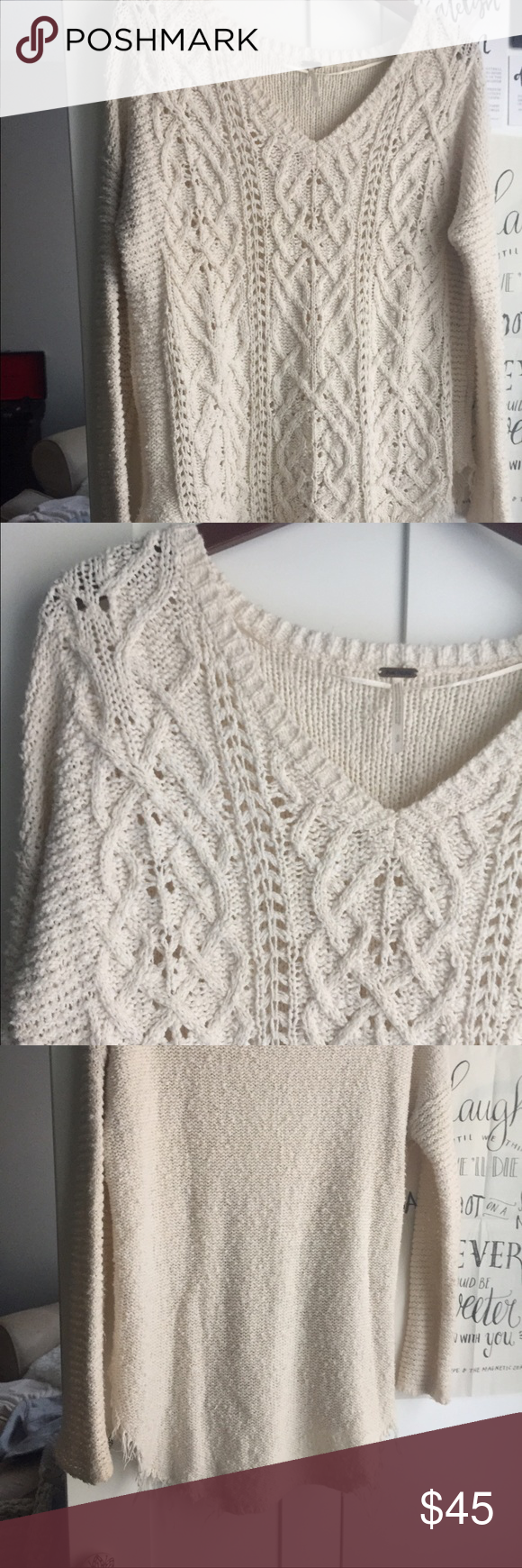 Free people cross my heart sweater Size small cream knit sweater, the edges are frayed naturally, love this sweater and wore it a handful of times! Free People Tops
