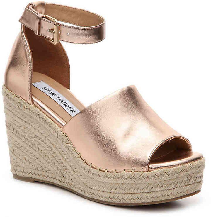 46c1c065603 Steve Madden Women's Jaylen Wedge Sandal -Taupe Leather/Suede ...