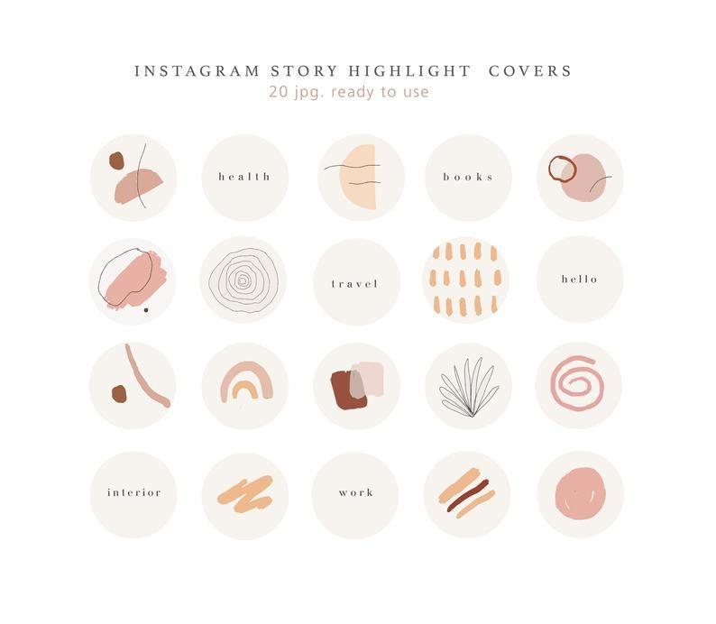 Instagram verhaal hoogtepunt pictogrammen/hand getrokken covers/hand getekende pictogrammen, verhaal cover, Instagram, Social Media iconen, naakt roze, pastel