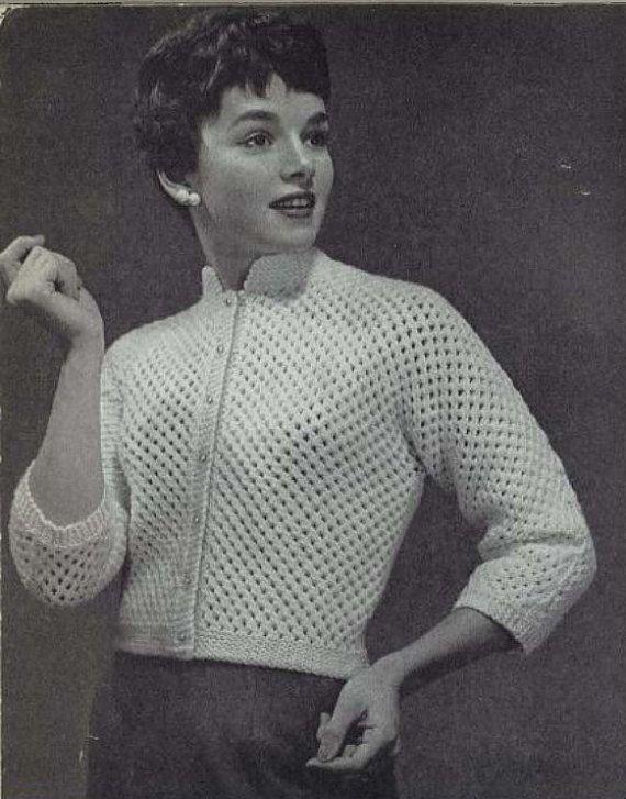 Pearl Dot 1950s Wedding Bridal Cardigan Sweater Patterns 50s