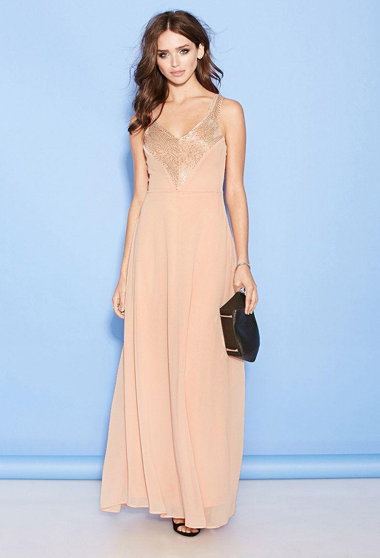Double-V Chiffon Maxi Dress | FOREVER21 - 2000100614