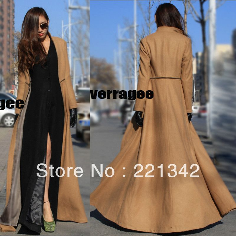 New Womens Full-Length Winderbreaker Wool Blend Jacket Slim Fit ...