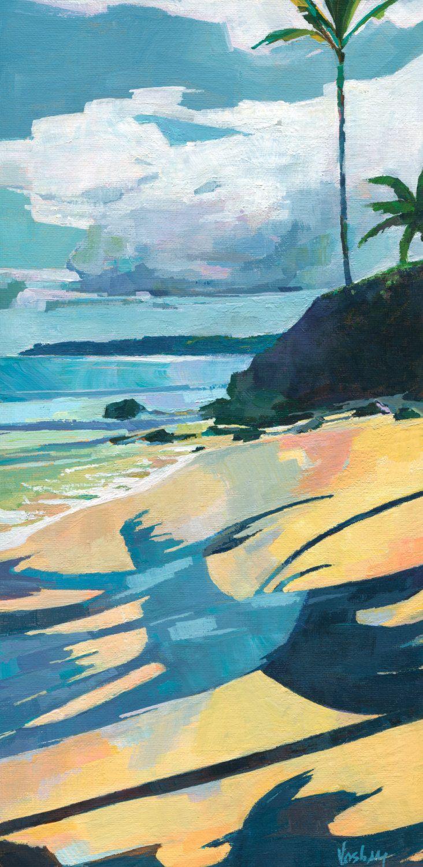 Modern Wall Decor Modern Landscape Sea Coast Painting Original Oil Blue Painting Semi Abstract Trees on the Beach