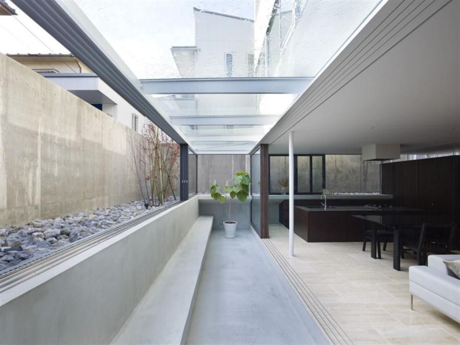 bright terrace with glass roof and concrete seating office space rh pinterest com