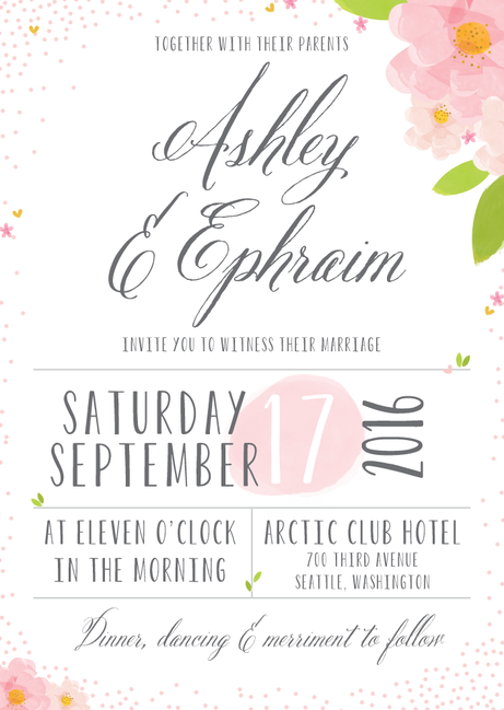 Blissful Petals Blushing Wedding Paper Divas Wedding Invitations Digital Wedding Invitations