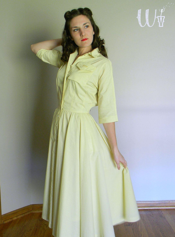a14bf7c6b3089 Moving SALE - 50's Shirtwaist Dress Yellow Cotton Circle Skirt ...