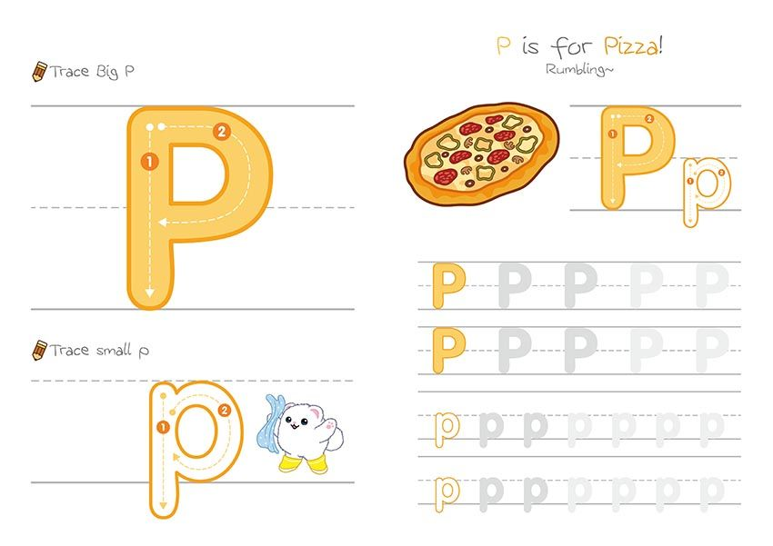 Letters P to T Tracing Pages Keywords pizza, queen, rocket, sun - letter of recognition