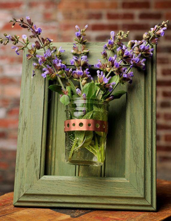 Framed Mason Jar Wall Sconce Moss Green Flower Plant