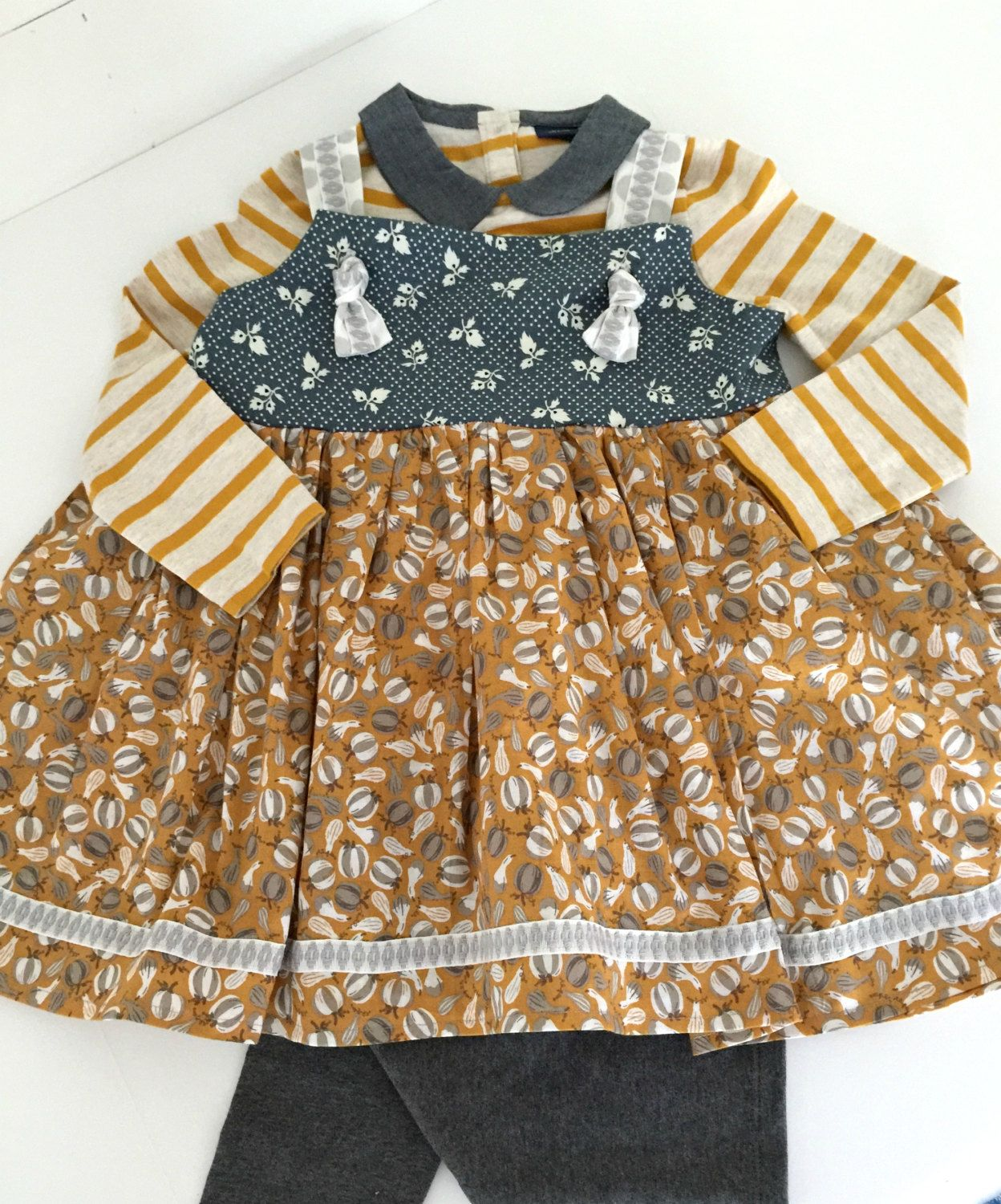 Fall print girls knot top with swing bottom pumpkins stripes